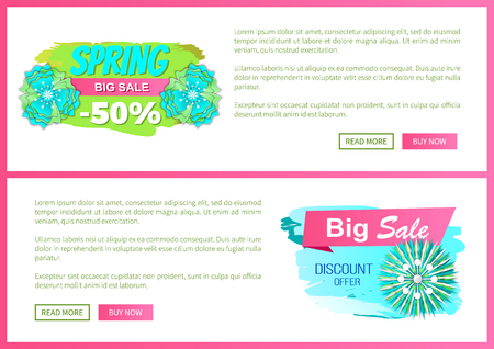 Blooming flowers on spring sale labels, vector web page template with text sample and price tag with 50 percent discount decorated by springtime plants