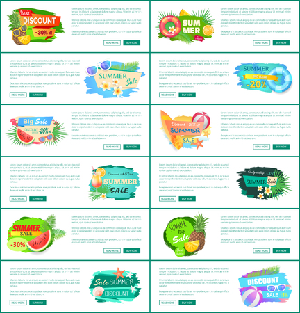 Best super discount banners set vector. Big promotion and summer offering, proposals of shops. Watermelon fruit and cocktail with straw, cool beverage