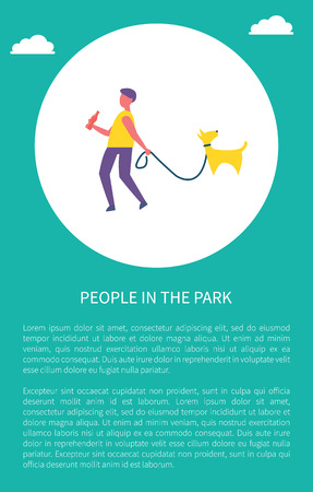 Man walking with dog in park in circle vector poster, text sample. Guy in casual clothes with bottle of cola, walk pet on leash, spend time outdoor