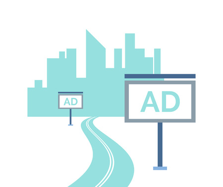 Road to big city with skyscrapers and advertisements vector. Adverts on boards, billboard with information for buyers, megapolis residential town buildings