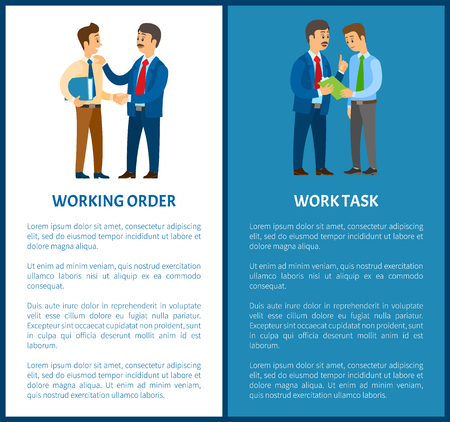Working order and work task, office worker duties. Boss and employee, documents in folder or pad with paper, manager or clerk vector illustrations.