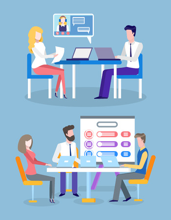 Business project results and infocharts vector. Tables with info, people sitting with laptops, presentation on whiteboard, information in visual form Foto de archivo - 125144280
