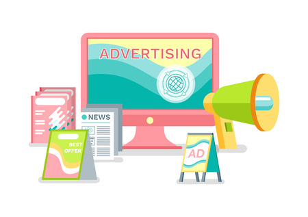 Advertisement in internet vector, ways of business promotion. Printed publications and live broadcasting with help of megaphone, laptop screen monitor