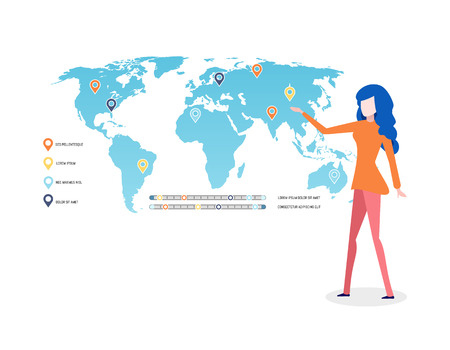 Woman presenting map with legend explanation vector. World with labels, graphics and location pointers, businesswoman on conference explaining data