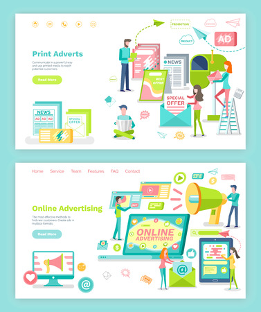 Online advertising and print adverts vector. Megaphone and internet, newspaper and magazine. Website or webpage template, landing page flat style Ilustración de vector