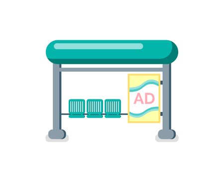 Station with advertisements vector. Bus stop with billboard and seats for waiting passengers, isolated icon. Ads display on place, city construction