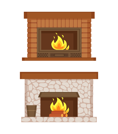 Fireplace made of bricks and stones interior set vector. Isolated icons, burning logs, bucket for ashes, construction for heating home, warming up