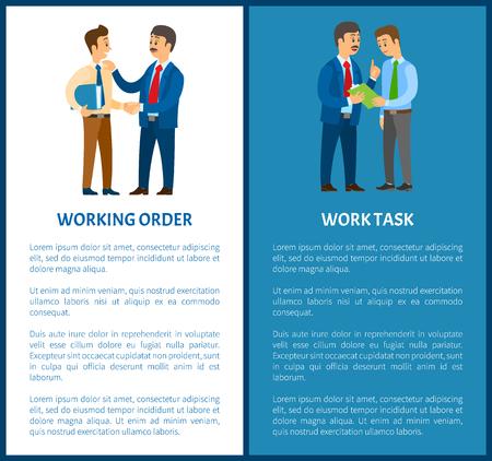Ordre de travail et tâche de travail, tâches d'employé de bureau. Patron et employé, documents dans un dossier ou un bloc-notes avec des illustrations vectorielles en papier, gestionnaire ou commis. Vecteurs