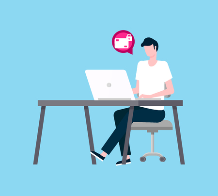 Freelancer working on laptop vector. Person thinking about new electronic device application for security of transaction and privacy correspondence coder