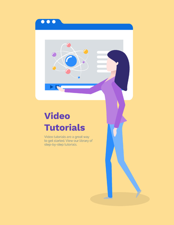 Video tutorials woman learning new information vector. Computer monitor with chemical structure, molecules and atom formula. Poster with text sample Illustration