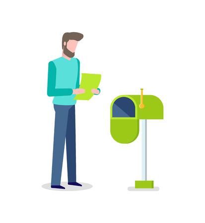 Homme avec lettre en mains, boîte aux lettres pour les messages recevant le vecteur. Page ouverte, offre spéciale, publicité sur matériel imprimé, personne isolée et affranchissement Vecteurs