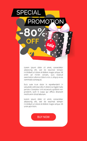 Special promotion of shop, 80 percent sale vector web site template. Price reduction, store proposal, trading business and sales. Sellout of presents