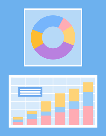 Segmented round pie diagram with info vector. Isolated icons of infographics and schemes presenting business results and analytics, flowchart data