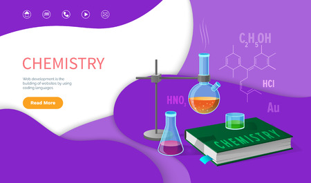 Chemistry school discipline, college subjects vector. Chemical education , research and experiments in laboratory, mixing substances writing results. Website or webpage template landing page in flat Ilustracje wektorowe