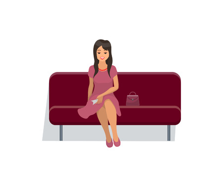 Woman sitting on velvet sofa in gentle pink dress and waiting for movie seance start. Vector isolated cartoon character sitting on couch, bag and red necklace