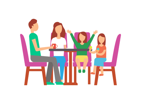 Father and mother with kids eating in cafe vector. Father with cup of tea, daughter holding ice cream. Mother and kid waiting for order, people on weekend Ilustracja