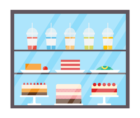 Réfrigérateur avec vecteur de jus de fruits et de gâteaux. Bonbons au réfrigérateur, boissons versées sur des tasses en plastique avec des pailles. Nourriture savoureuse en magasin, boulangerie