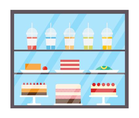 Refrigerador con jugos bebidas y tortas vector. Dulces en la nevera, bebidas vertidas en tazas de plástico con pajitas. Comida sabrosa en tienda, panadería