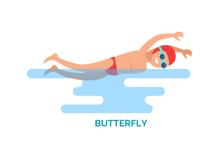 Butterfly stroke swimmer poster vector. Man moving hands symmetrically using dolphin kick method. Stroke swum on chest, male with goggles and cap Stock Illustratie