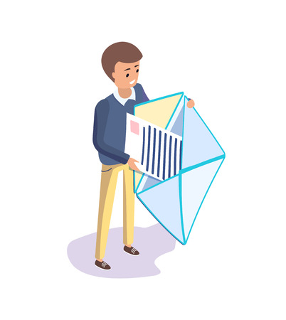 Man receiving message vector, human holding open envelope. Isolated isometric 3d, business correspondence and communication with partners, formal chatting