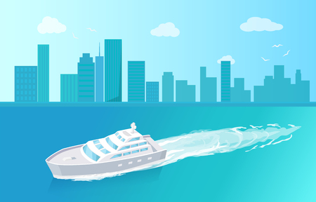 Passenger liner marine traveling vessel vector at cityscape. Modern yacht sailing in deep blue waters, steamship cruise nautical craft, sailboat sample