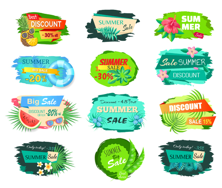 Best discount thirty percent set vector. Banners with proposition of shops, sunglasses and watermelon, pineapple slice and flowering. Tropical flowers