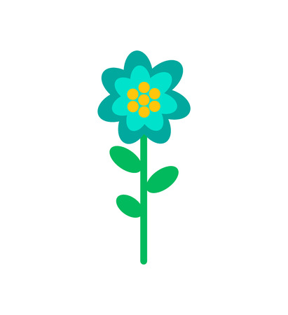 Flower doodle in blue and yellow color. Vector isolated blooming bud with green leaves and stem, botanical icon, flora element, romantic spring blossom Imagens - 125144348