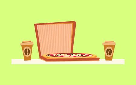 Pizza delivery vector, Italian food in container, coffee drink in plastic cup. Snack in paper box, crust meal with cheese and salami, traditional dish of Italy