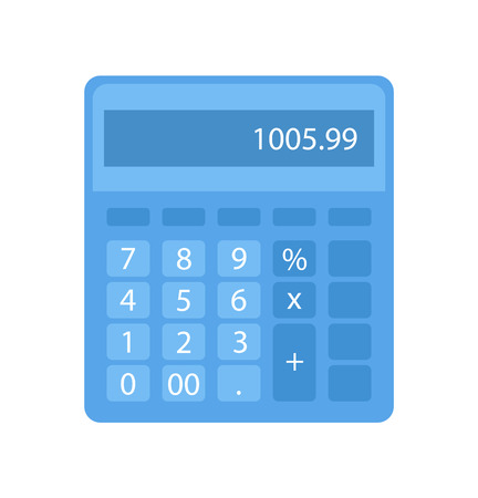 Calculator with buttons and numerals in blue. Object for making electronic counting, finance and credits. Flat keyboard with number, estimation vector