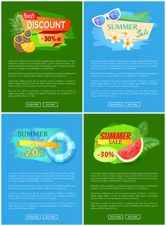 Summer discount summertime set. Lifebuoy and saving ring, watermelon and pineapple with glasses. Prices, special offers vector advertisement leaflets