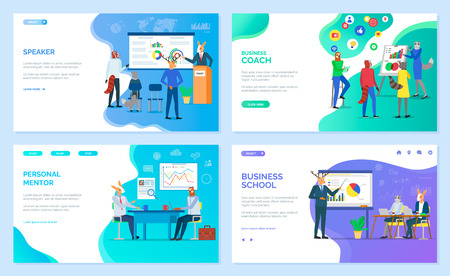 Animal business team. Career school online page vector, speaker and coach or mentor services. Animals in office suits, graphic and diagram presentation webpage Internet education. Website landing page