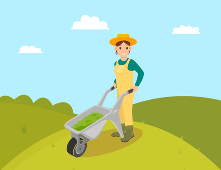 Farmer with compost in trolley vector. Farming woman wearing uniform and hat. Fertilizing ground, lady with cart and fertile liquids in metal carriage