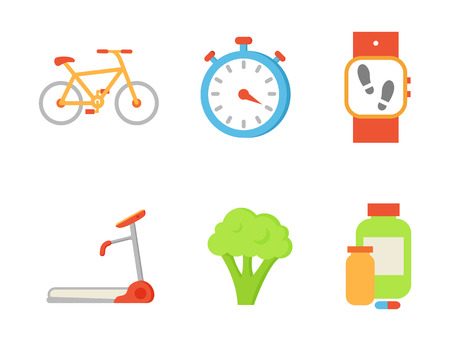 Treadmill and broccoli isolated icons set. Bicycle and timer clock, wristband pedometer indicator and bottles with vitamins, pills and capsules vector Illusztráció