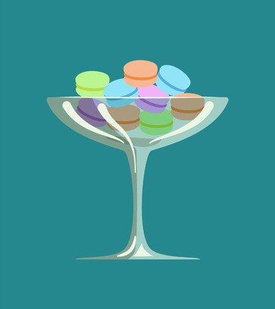 Cookies and biscuits, dessert in container glass vector. Sweet food delicious bakery served in cafe, restaurant dish snacks with creamy stuffing cakes