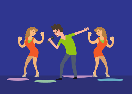 Male singer and dancing girls fan dancers in club vector. Man holding microphone expressing himself, musician giving performance star clubbing party