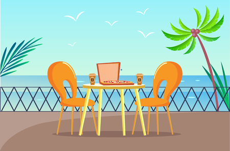 Tropical pizzeria table at balcony with sea view vector. Pizza and coffee, restaurant furniture and palms, chairs and gull over ocean, Italian food meal