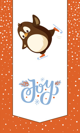 Joy greeting card, penguin on skates vector animal. Vector Arctic animal and winter Christmas activity, cartoon character outdoors having fun, snowy frame