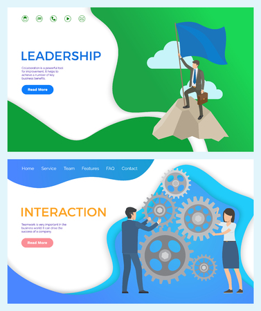 Leadership and interaction between worker and leader vector. Cogwheel and peak of mountain, male with pole and flag achieving new results at work. Website or webpage template landing page in flat Foto de archivo - 125144365