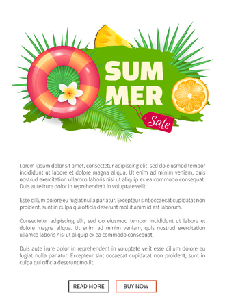 Summer sale banner with promo label vector. Seasonal promotion, for clients. Lifebuoy and orange slice, vacational proposition, pineapple fruit