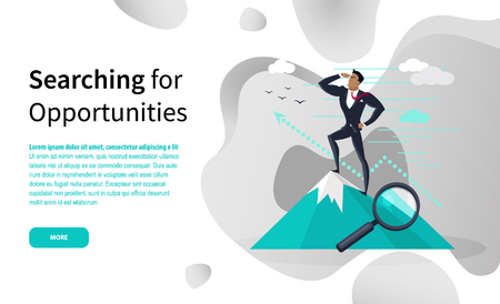 Searching for business opportunities online page vector. Businessman on top of mountain and growth graphic, magnifier, work strategies, goals and success  イラスト・ベクター素材