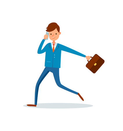 Man director talking on phone and running to work vector. Businessman with briefcase and papers in case, executive worker. Rush time late for job Vektoros illusztráció