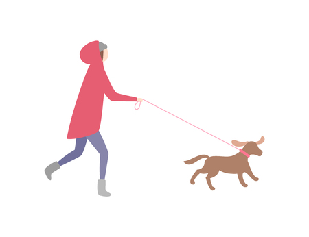 Woman running with dog on leash pet and owner vector. Jogging lady wearing warm clothes, winter season cold. Female walking canine doggy with collar Stok Fotoğraf - 117228391