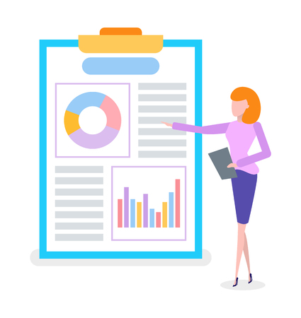 Businesswoman on presentation, flip chart vector. Woman showing marketing strategies, entrepreneur and work analysis on board, scheme and business plan