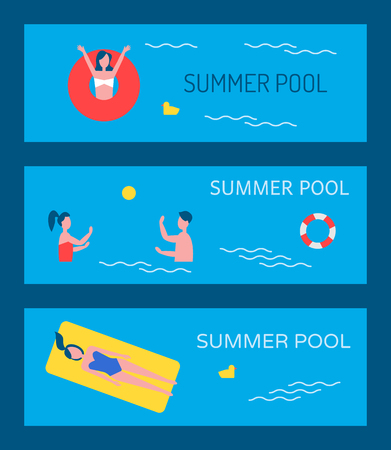 Summer pool posters set people on holidays. Woman in lifeline saving ring and couple playing active game polo. Person lying in mattress on waters surface vector