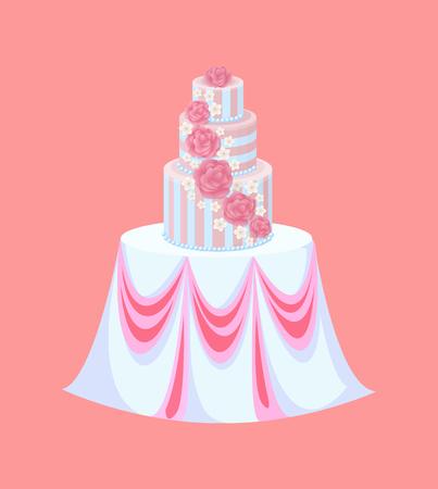 Hochzeitstorte auf Tisch mit Tischdecke, Catering-Vektor. Cremefarbene Blumen, Rosen und Sakurablüten, festliche Möbel, Hochzeitsessen oder Dessert