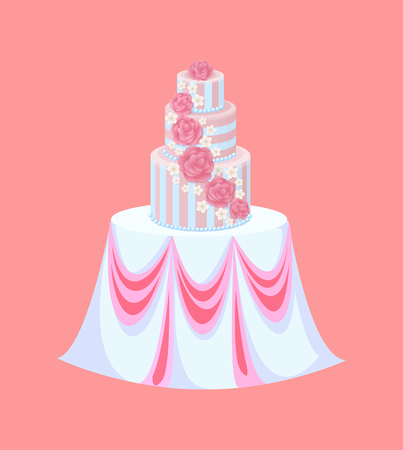 Wedding cake on table with tablecloth, catering vector. Cream flowers, roses and sakura blossom, festive furniture, marriage ceremony food or dessert Illustration