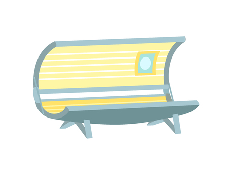 Empty solarium equipment for beauty salon cartoon icon isolated vector emblem. Vertical open apparatus with ultraviolet lamps for tanning procedure