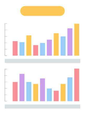 Data in visual representation vector, analyzed info placed in graphics. Infographic business projects information and result. Visualization structure Ilustração