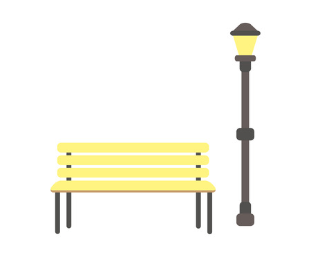 Wooden bench and lantern vector isolated icons. Srreet lamp and seat made of planks, place for rest in city park, lighting item in flat style