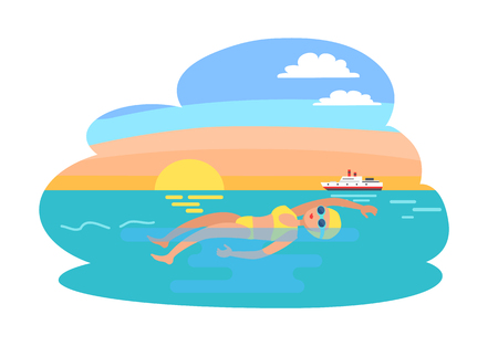 Backstroke professional woman swimming activities in water. Sportive lady in suit, sportswoman making stroke. Sea with yacht and ship transport vector
